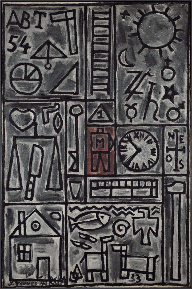 Torres García, Joaquín. Constructivo en gris y negro con centro rojo. Año 1933. Tomado de: http://autores.uy/obra/11897